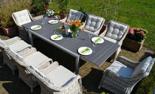 Essgruppe Neapel - Tisch verlängerbar 170/255x100cm + 8 Sessel grau Polster beige