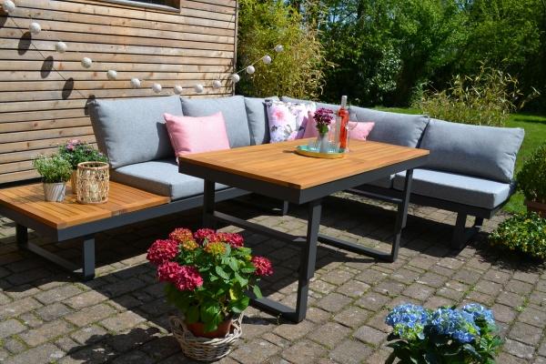 Ecklounge Santorini ACACIA Wood - Tisch höhenverstellbar - Polster hell / mittelgrau