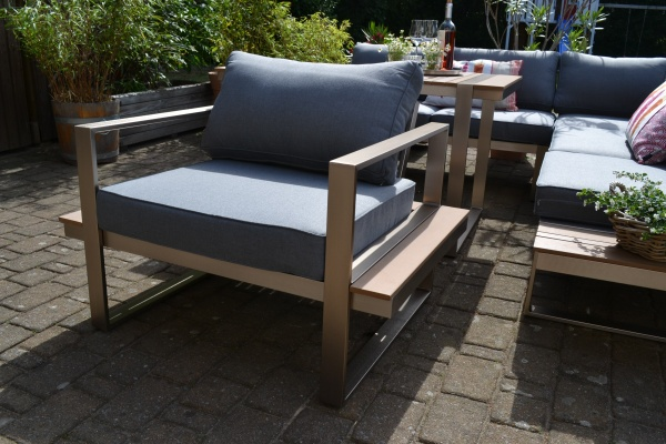 Lounge-Sessel Atlanta im Edelstahl/Teak Look - Polsterfarbe grau
