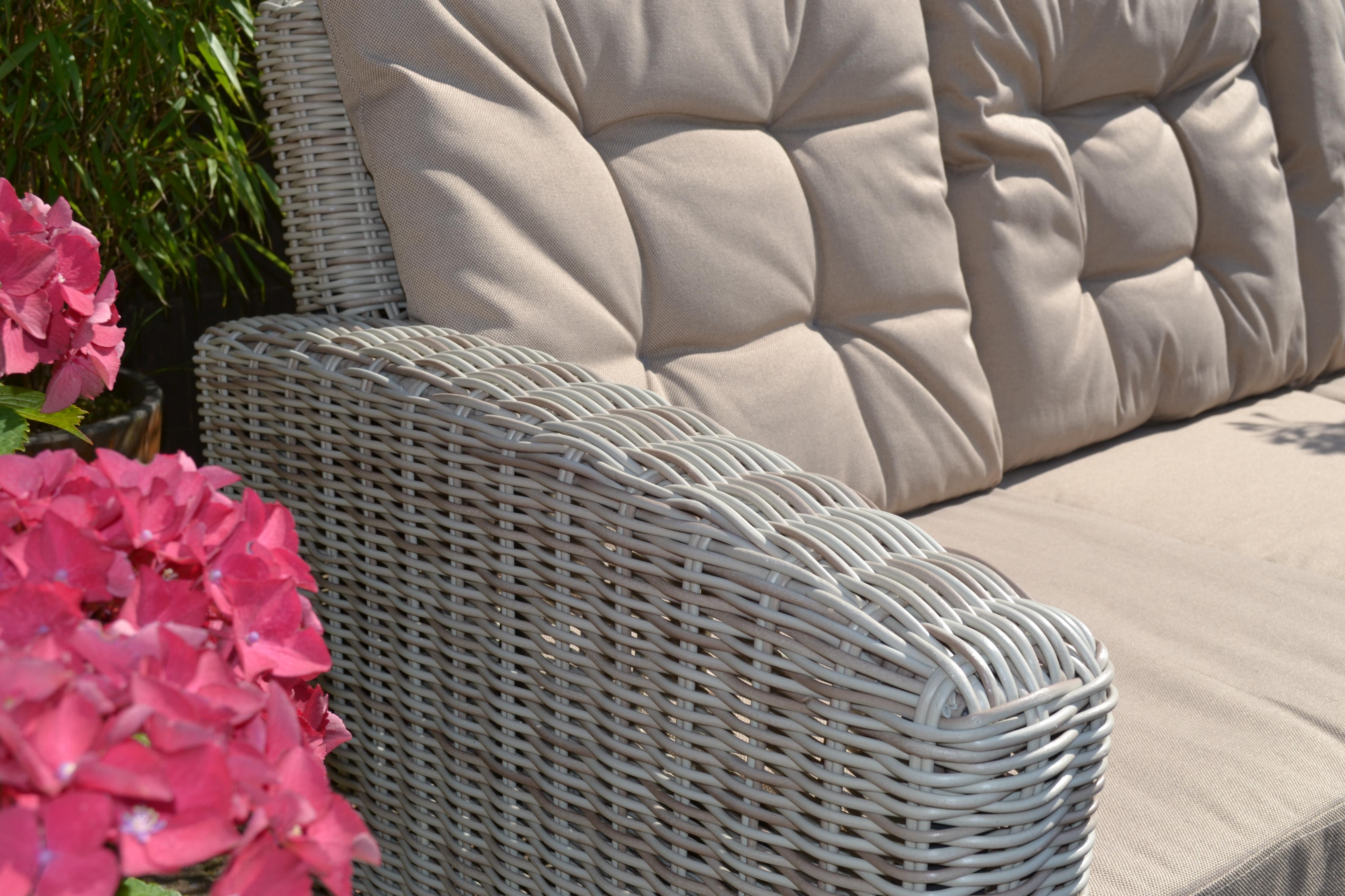 Ecklounge Manhatten links sand-grau Tisch+Sofa | Bomey ...