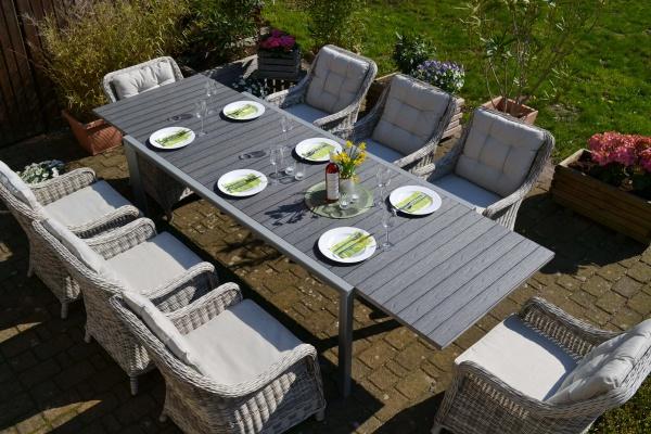 Essgruppe Neapel XL - Tisch verlängerbar 203/305x100cm + 8 Sessel grau Polster beige