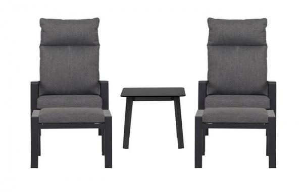 Outfit 2 Sessel mit Liegefunktion + 2 Fußhocker + Tisch Kombination (48848)