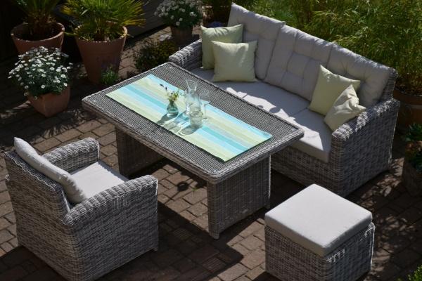 Sofagarnitur Manhattan sand-grau (3 Sitzer Sofa + Tisch + Sessel + Hocker)