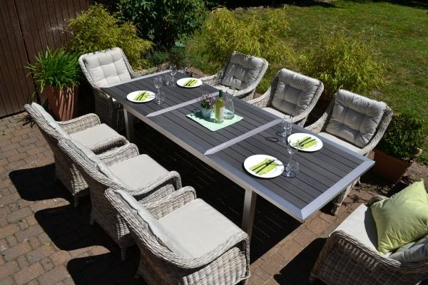 Garnitur Stockholm im Edelstahllook - Tisch verlängerbar 180/260x100cm + 8 Sessel grau Polster beige