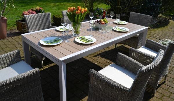 Sitzgruppe Madrid XL mit 6 Sesseln Neapel - Tisch verlängerbar