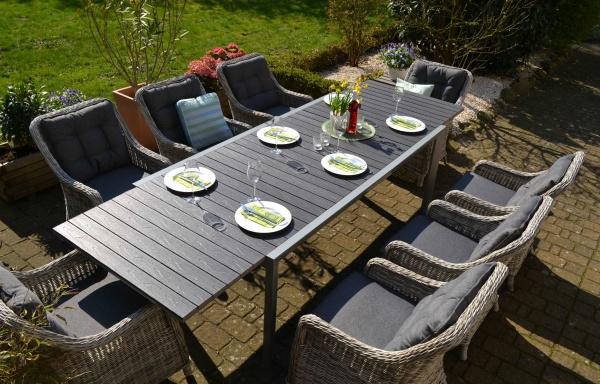 Essgruppe Neapel XL - Tisch verlängerbar 203/305x100cm + 8 Sessel grau Polster grau