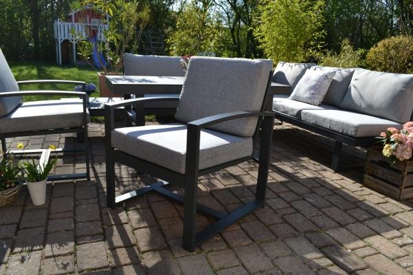 1 Lounge Sessel Santorini - Polster hell / mittelgrau