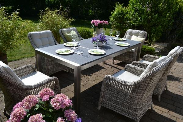 Edelstahl und Granit Garnitur Helsinki mit 6 Sesseln Como grau Polster beige
