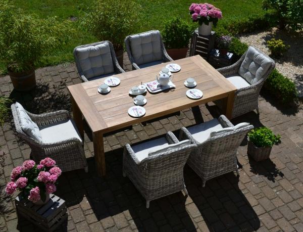 Echtholz Garnitur Java 200 x 100 cm recyceltes Teak + 6 Sessel Como grau Polster beige