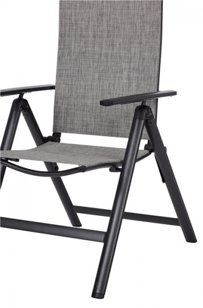 Outfit 7 Positionen Gartenstuhl in grau - Bespanung wetterfestes Textilene in grau (47988)