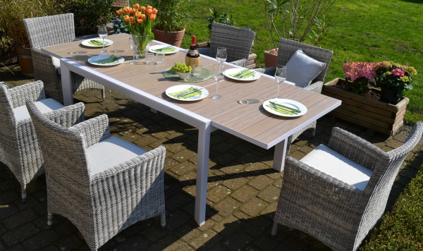 Sitzgruppe Madrid mit 6 Sesseln Neapel - Tisch verlängerbar