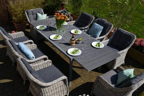 Essgruppe Neapel - Tisch verlängerbar 170/255x100cm + 8 Sessel grau Polster grau