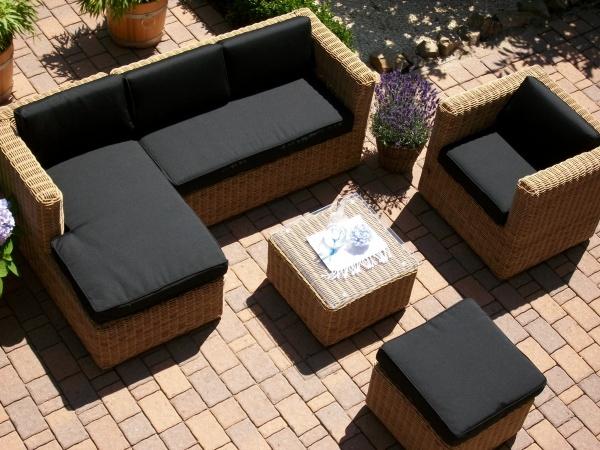 Loungegruppe Marseille in beige-braun (Ecklounge + Sessel, Hocker und Tisch) Polster schwarz