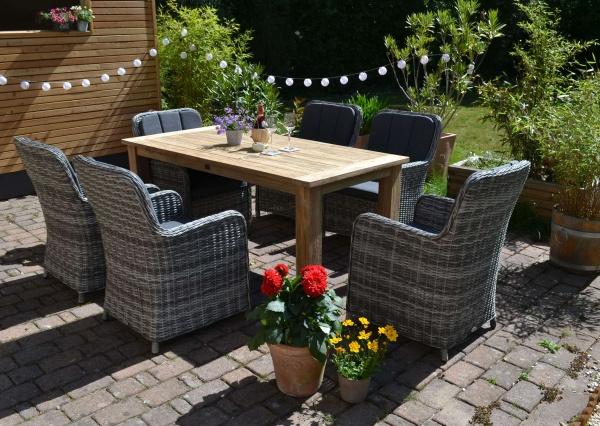 Echtholz Garnitur Oxfort 180 x 90 cm recyceltes Teak + 6 Sessel Como dunkelgrau mix