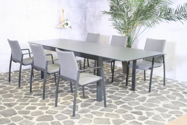 Essgruppe Solero - Tisch 200/300cm x 100cm mit 8 Stapelstühlen Solero