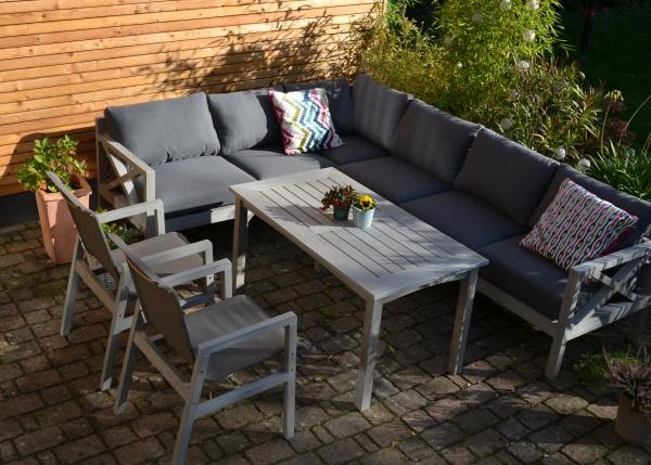 Kona Dining Corner Lounge Vintage Grey - Ecklounge + Tisch + 2 Stühle Flavium