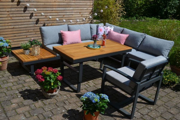 Ecklounge Santorini ACACIA Wood - Tisch höhenverstellbar + 1 Lounge Sessel - Polster hell / mittel