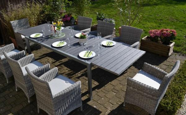Essgruppe Neapel - XL - Tisch verlängerbar 203/305x100cm + 8 Sessel Neapel grau Polster beige