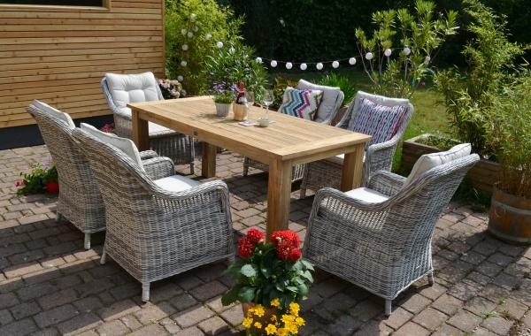 Echtholz Garnitur Oxfort 180 x 90 cm recyceltes Teak + 6 Sessel Como sandgrau Polster beige