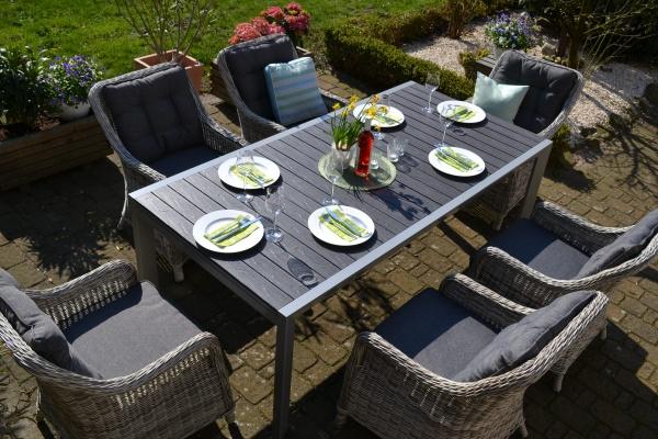 Essgruppe Neapel XL - Tisch verlängerbar 203/305x100cm + 6 Sessel grau Polster grau