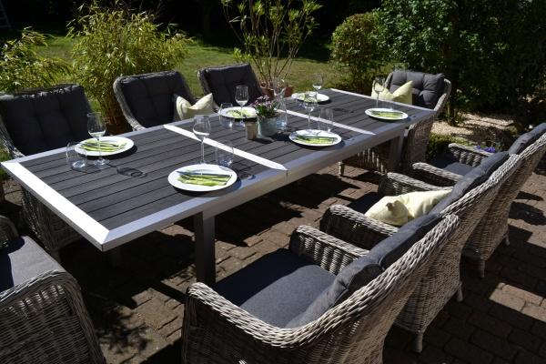Garnitur Stockholm im Edelstahllook - Tisch verlängerbar 180/260x100cm + 8 Sessel grau Polster grau