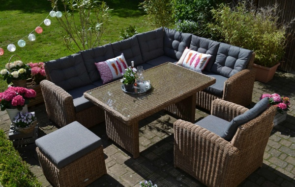 "Ecklounge Manhattan NATUR ""Links"" - Polsterfarbe grau (Ecksofa + Tisch + Sessel + Hocker)"