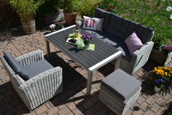 Sofagarnitur Manhattan sand-grau Polster grau - 3 Sitzer Sofa + Tisch Miami + Sessel + Hocker