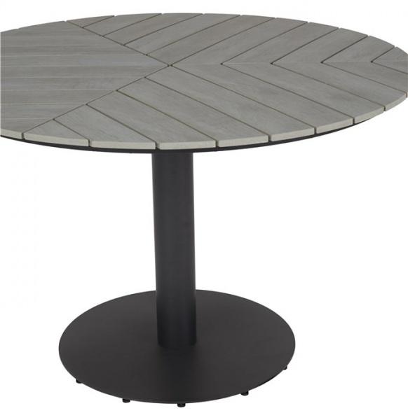 Rundgarnitur Envy Esstisch 110 cm Durchmesser Leisten Polywood grau + 6 Stühle 48862+208958+47988