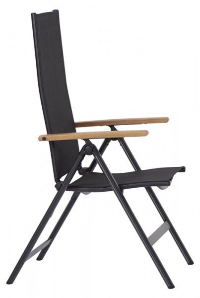Outfit 7 Positionen Gartenstuhl in schwarz - Armlehne aus Holz (48539)