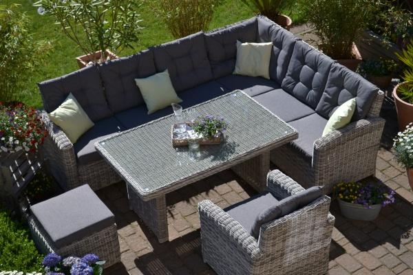 Ecklounge Sitzgruppe Manhattan sand-grau- Polster grau - lange Seite LINKS (Ecksofa + Tisch + Sessel