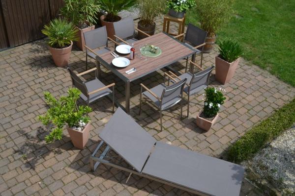 Garnitur Oslo Edelstahl Tisch 160*90 mit 6 Stühlen und 1 Sonnenliege