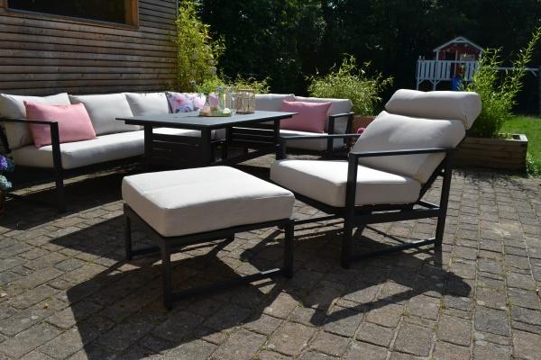 Outfit Iris - Ecksofa + 1 Sessel mit Liegefunktion + 1 Hocker + Tisch - Polster natur beige