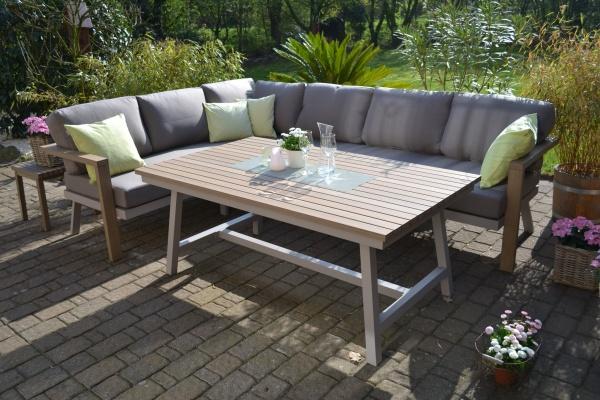 Enviro Wood Ecklounge + Tisch Mailand L-Form, lange Seite des Sofas rechts
