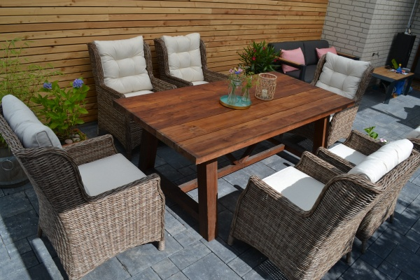 Echtholz Garnitur Jakarta 200*100 recyceltes Teak + 6 Sessel Gotland XL mit Sitz- und Rückenpolster