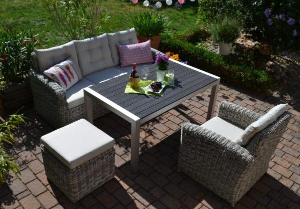 Sofagarnitur Manhattan sand-grau, Polster beige - 3 Sitzer Sofa + Tisch Miami + Sessel + Hocker