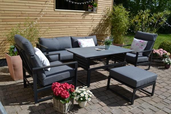Loungegruppe Kolding mit 2 Sesseln + Hocker + 3er Sofa + Tisch