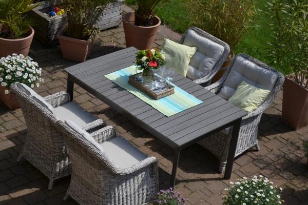 Sitzgruppe Como-FD 160/210/260x95cm sand-grau Polster beige für 4 Personen - 2fach verlängerbar
