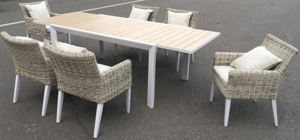 Sitzgruppe Madrid mit 6 bequemen Sesseln - Tisch verlängerbar