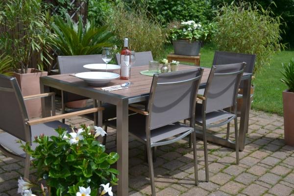 Garnitur Oslo Edelstahl Tisch 160 x 90 cm mit 6 Stühlen - Tischplatte aus HPL