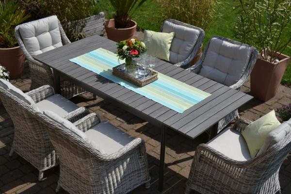 Sitzgruppe Como XL - Tisch Outfit 200/250/300x95cm + 8 Sessel Como grau Polster beige(15705) für 8 P
