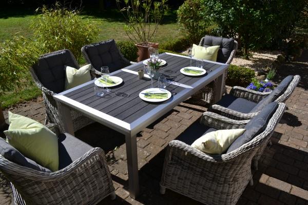 Essgruppe Stockholm im Edelstahllook - Tisch verlängerbar 180/260x100cm + 6 Sessel grau Polster grau