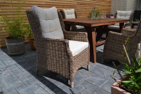 Sessel VILA Gotland XL aus Polylyrattan in Naturoptik - Polster beige mit Sitz- und Rückenpolster