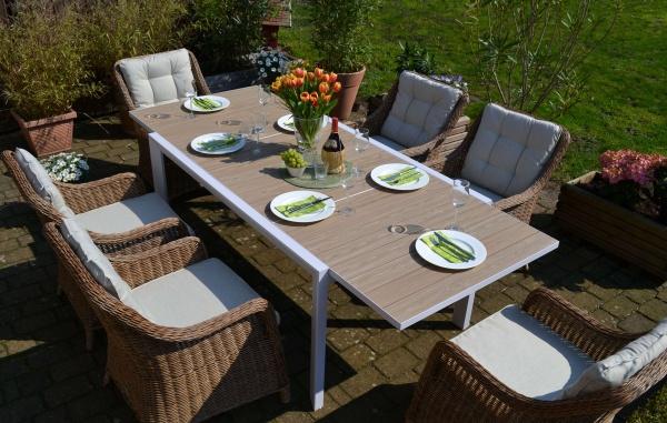 Sitzgruppe Madrid mit 6 Sesseln Como Natur - Tisch verlängerbar