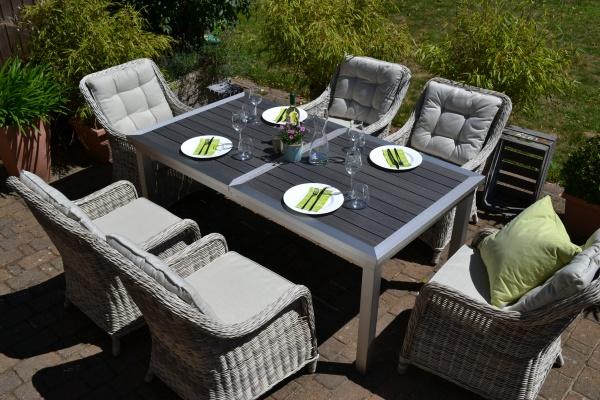 Essgruppe Stockholm im Edelstahllook - Tisch verlängerbar 180/260x100cm +6 Sessel grau Polster beige